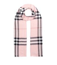 Burberry Shoes And Accessories Silk And Wool Ombre Check Scarf Female Pink