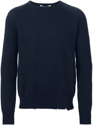 Golden Goose Deluxe Brand Distressed Knit Sweater Blue