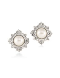 Carolee Simulated Pearl Silvertone Button Earrings
