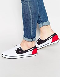 Tommy Hilfiger Harlow Canvas Boat Shoes White