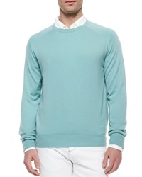 Loro Piana Roadster Cashmere Crewneck Sweater Jade Women's J45i