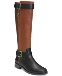 Aerosoles Ride Around Riding Boots Only At Macy's Women's Shoes Black Tan Combo