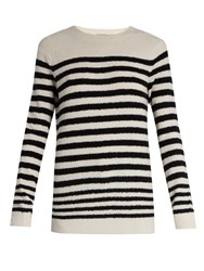 Vince Striped Wool Blend Sweater Cream Stripe