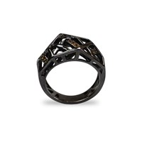Bellus Domina Citrine Hexa Ring Sterling Silver Black