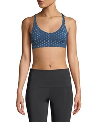 Onzie Pyramid Strappy Dotted Low Impact Sports Bra Blue