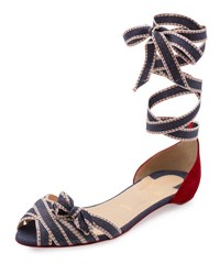 Christian Louboutin Christeriva Ankle Wrap D'orsay Flat Blue Rougessime Blue Rougissime