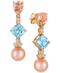 Le Vian Multi Gemstone 3 3 4 Ct. T.W. Cultured Freshwater Pearl 9Mm And Diamond 1 3 Ct. T.W. Drop Earrings In 14K Rose Gold Pink