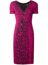 Versace Leopard Print Dress Pink And Purple