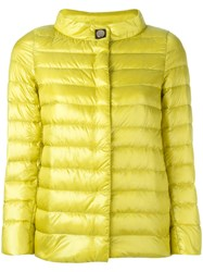 Herno Button Up Puffer Jacket Yellow Orange