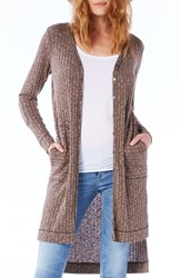 Michael Stars Women's Elbow Patch Long High Low Cardigan Sesame