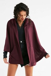 Urban Outfitters French Terry Hoodie Cape Maroon