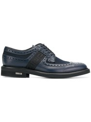 Versace Brogues With Greek Key Side Panels Blue