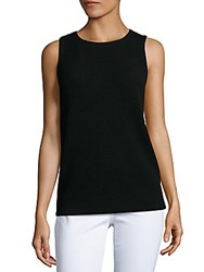Lafayette 148 New York Gridlock Jewelneck Sleeveless Top Black