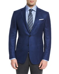 Ermenegildo Zegna Solid Cashmere Two Button Blazer Blue No Color