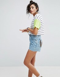 Asos T Shirt In Stripe With Neon Sequin Sleeves Multi
