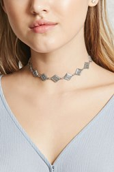 Forever 21 Diamond Shape Floral Choker Antique Silver