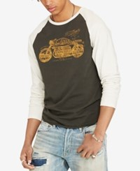 Denim And Supply Ralph Lauren Cotton Graphic Baseball Tee Faded Black Antique Cream