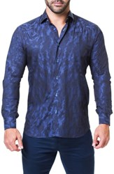 Maceoo Einstein Camouflage Trim Fit Sport Shirt Blue