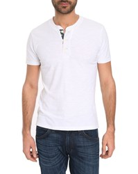 Denim And Supply Ralph Lauren Henley White T Shirt With Flag Button Tab