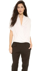 Vince Short Sleeve Wrap Blouse Beige