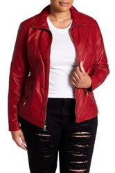 Kenneth Cole Faux Leather Moto Jacket Plus Size Red