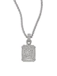 Judith Ripka Pave Linen Sapphire And Sterling Silver Rectangular Pendant Necklace