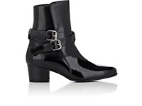 Amiri Women's Buckle Strap Spazzolato Leather Ankle Boots Black
