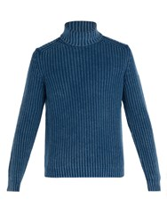 Iris Von Arnim Newton Cashmere Roll Neck Sweater Blue