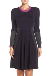 Eliza J Women's Colorblock Sweater Fit And Flare Dress