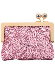 Sophie Hulme Glittered Sidney Coin Purse Women Cotton Leather One Size Pink Purple