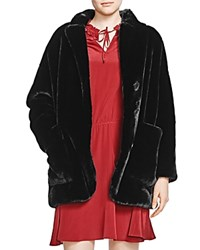 The Kooples Faux Fur Jacket Black