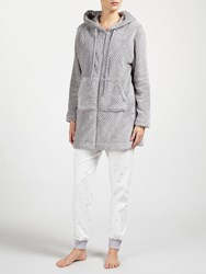 John Lewis Zip Through Waffle Fleece Hooded Robe Grey