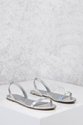 Forever 21 Holographic Clear Sandals Silver