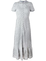 Red Valentino Buttoned Lace Dress Grey