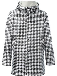 Stutterheim All Over Dogtooth Print Coat Black