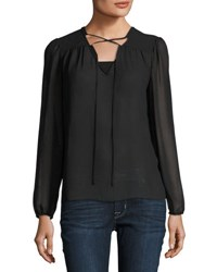 Laundry By Shelli Segal Lace Up Chiffon Top Black