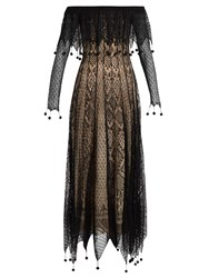 Alexander Mcqueen Off The Shoulder Pompom Embellished Lace Dress Black