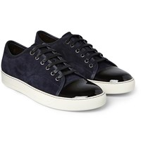 Lanvin Cap Toe Suede And Patent Leather Sneakers Blue