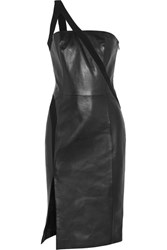 Thierry Mugler One Shoulder Crepe Trimmed Leather Dress Black