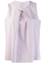 Aspesi Striped Sleeveless Blouse White