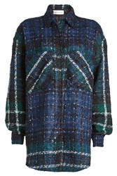 Faith Connexion Oversized Tweed Shirt With Mohair And Cashmere Multicolored