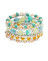 Catherine Stein Multi Row Beaded Stretch Bracelet Blue Combo