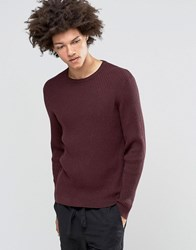 Asos Alpaca Mix Ribbed Jumper Plum Purple