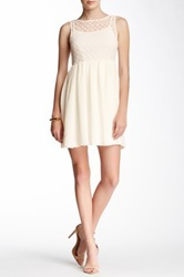 Dex Sleeveless Dress With Lace Top Beige
