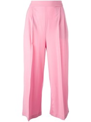 Msgm Wide Leg Cropped Trousers Pink Purple