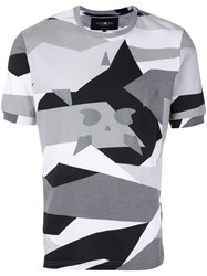 Hydrogen Star Print T Shirt Men Cotton S Grey
