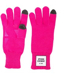 Opening Ceremony Logo Patch Gloves Pink