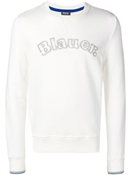 Blauer Embroidered Logo Sweatshirt White