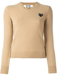 Comme Des Garcons Play Embroidered Heart Jumper Nude And Neutrals