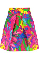 Milly Printed Cotton Blend Mini Skirt Pink